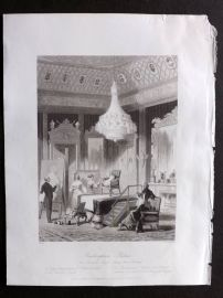 London Interiors 1841 Antique Print. Buckingham Palace